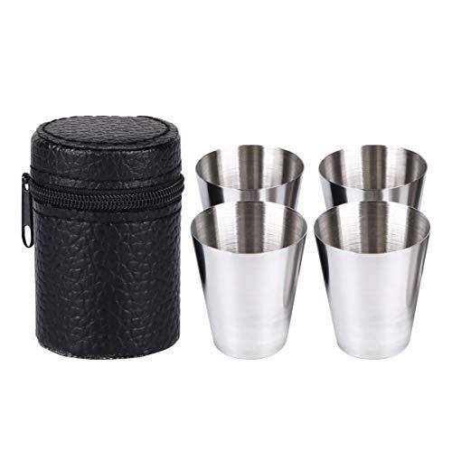 Yardwe Vasos de Chupito de 30Ml de Acero Inoxidable Mini Tazas de Vino con Estuche de Cuero Gafas de Beber Portátiles para Senderismo Camping Viaje