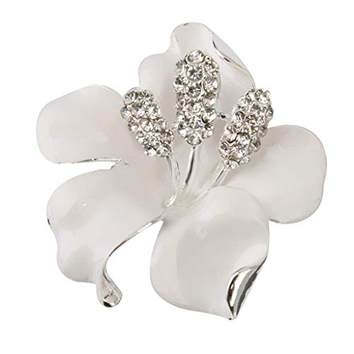 Fashion Women Rhinestone Crystal Rose flower Brooch Pin Bridal Wedding Gift Daily Beauty Party Cheap Womans Accessories Elegant Prom Best Good | Color - White