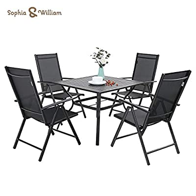 Sophia & William 5 Pieces Patio Dining Set with 4 Foldable Sling Chairs and 1 Square Metal Table with Umbrella Hole, Outdoor Portable High Back Folding Dining Chairs 7 Levels Adjustable