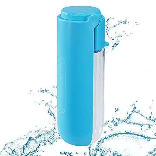 Portable Dog water bottle 420ml, Pet Drinking Bottle Dogs Cat Bottle Outdoor, Dog Travel Water Dispenser Drinking Bowl Bottle Ideal for On The Go, Travel and Hiking Blue
