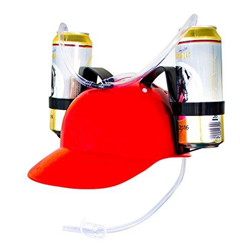 Grinscard Trinkhelm 2 Dosen oder Flaschen - Rot ca. 27 x 18 x 13 cm - Bierhelm Getränkespender für Partys und Unterwegs