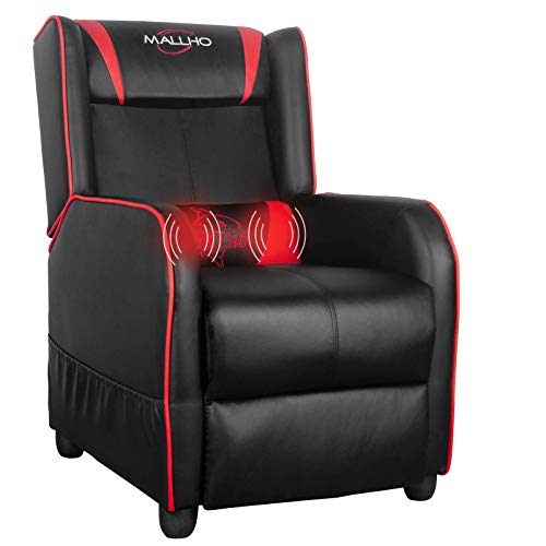 Polar Aurora Gaming Recliner Chair PU Leather Massage Recliner Vibratory Massage Function Ergonomic Lounge for Living & Gaming Room (Red)