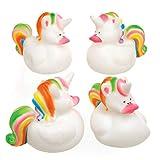 Baker Ross Patitos unicornios multicolor, ideales para bolsas sorpresa para que los niños jueguen con ellos (pack de 4).