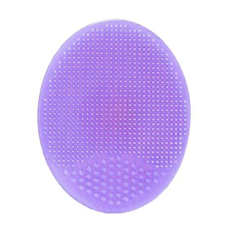 1pc silicone souple du visage Bain de lavage Brosse cheveux Visage Exfoliant Nettoyage Scrubber Massage Douche éponge exfoliante pour Blackhead Retrait douche Wash (Violet)