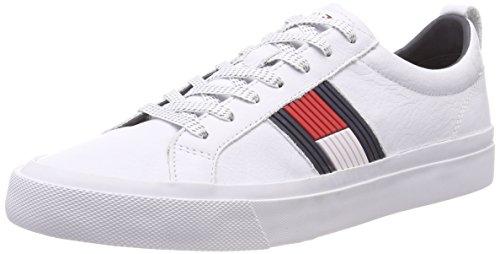 Tommy Hilfiger Flag Detail Leather Sneaker, Zapatillas Hombre, Blanco (White 100), 44 EU