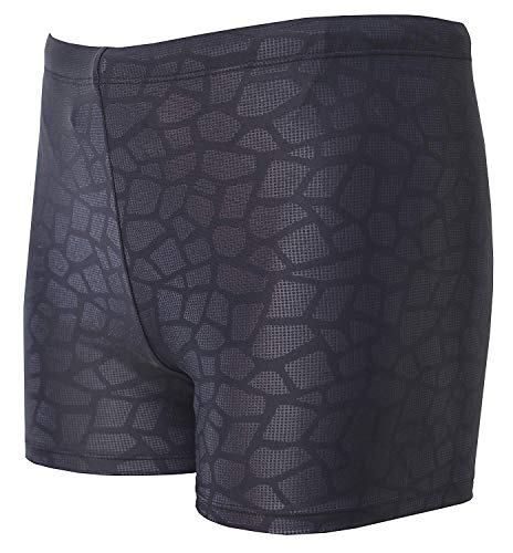 Vocni Men's Compression Quick Dry Rapid Swim Splice Square Leg Short Jammer Swimsuit Black