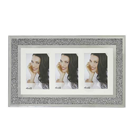 Marco de fotos para tres fotos, cristal de espejo, color plateado, 4 fotos de 6 cm