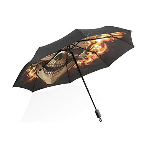 Regenschirm-brennender Schädel auf schwarzem Hintergrund 3 faltet leichtes Anti-UV