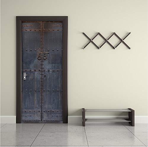 Ruifulex Türtapete Neue Chinesische Art Alte Holztür Wandaufkleber 3D Tür Wandbild Poster PVC Selbstklebende Aufkleber Nachahmung Aufkleber Wohnkultur