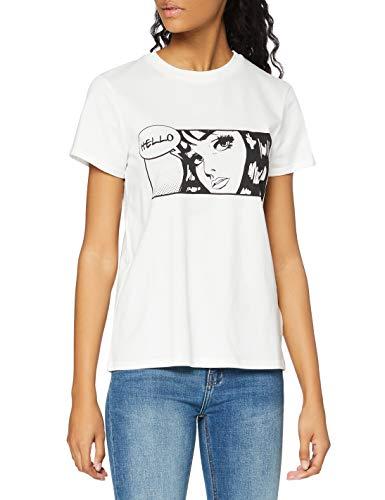 find. T-Shirt Girocollo con Slogan Donna, Bianco (White), 42, Label: S