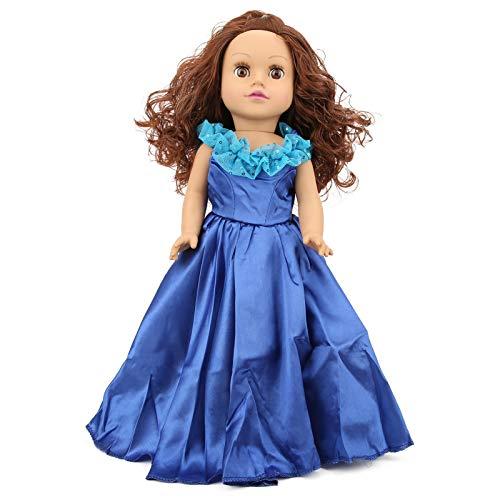Boneca bebê Reborn Girl 19 polegadas, cabelo encaracolado de silicone macio realista com vestido de princesa, membros móveis, roupas laváveis, o melhor presente de aniversário para crianças e idosos (vestido azul)