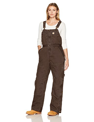 Carhartt Women's Weathered Duck Wildwood Bib Overalls (Regular and Plus Sizes), Dark Brown, Small
