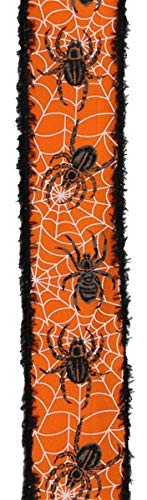 Spiders & Webs Patterned Ribbon with Snowdrift Wired Edge, 10 Yards (Orange, 2.5 Inch)