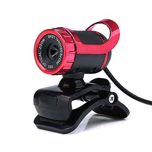 SQS-sxt webcam Webcam HD, Clip 360 Gradi Computer Con Microfono USB Driver Libero, Sistemi Operativi Supporta Web Camera Mainstream For Laptop O Desktop (Color : Red)
