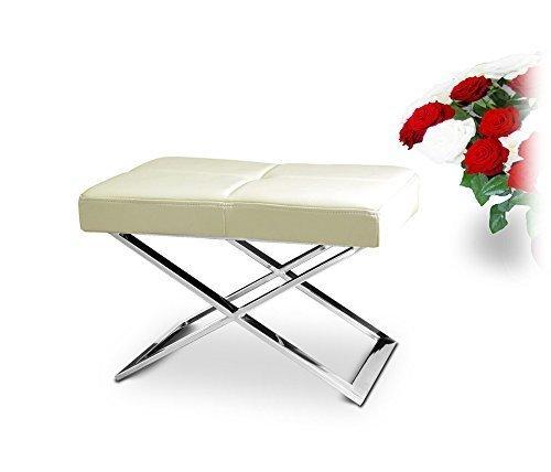 NEUERRAUM Taburete auxiliar Bauhaus de acero inoxidable pulido, imagen en piel beige crema
