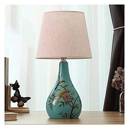 Lampara Mesilla Lámpara de escritorio LED dormitorio Lámpara de mesa de mesa de noche Pantalla de tela, aplicable E27 Bulbo en espiral 110V ~ 240V para lámparas de mesa para niños 18 pulgadas de altur