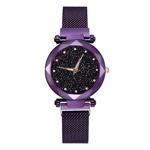 jieGorge Damen-Armbanduhr, magnetischer Netzgürtel, Anziehungsarmbanduhr, Stahlband, Quarz, leger, schwarzer Sternenhimmel, Zifferblatt für Frauen (lila)