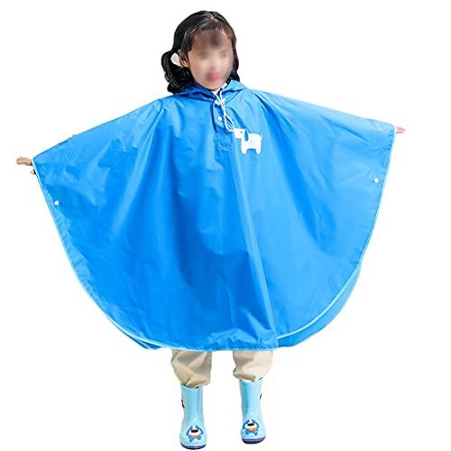 YQQMC Poncho impermeable con capucha para niños, resistente al agua, portátil, capa de lluvia para niños y niñas (color: azul, tamaño: M)