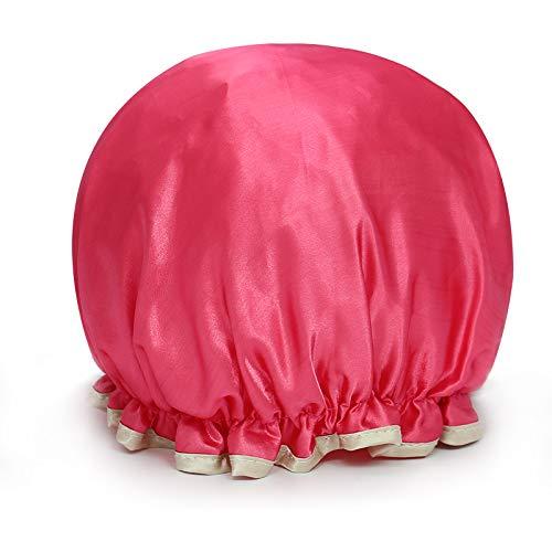MEIZHIJIA Bonnet De Douche Imperméable Épaissir Adulte Femmes Bonnet De Bain Double Tête De Lavage Bonnet De Douche Anti-Poussière Smokey Couvre-Tête De Cuisine Rose Rouge 25Cm