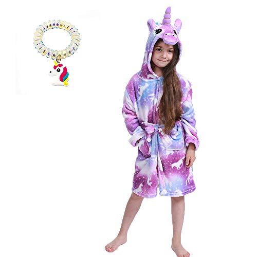 UsHigh Kids - Albornoz/bata con diseño de unicornio para niñas, en felpa suave, con capucha