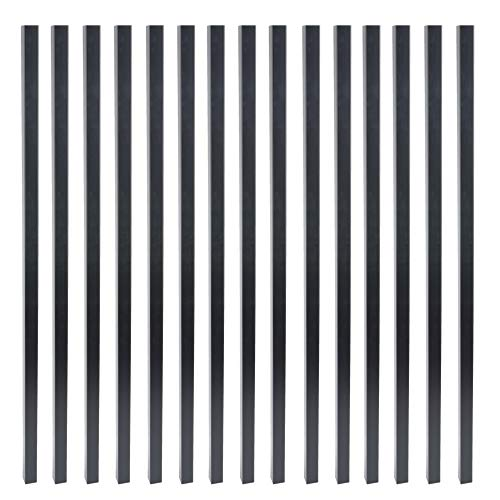 Myard 26 Inches Estate Square Iron Balusters for Decking Railing Patio Fence, Modern Look (25-Pack, Matte Black)
