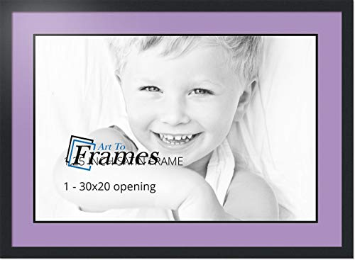 ArtToFrames Collage Photo Frame Double Mat with 1-20x30 Openings with Satin Black Frame and Lavender Mist mat.
