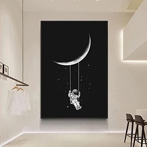 N/A Fotomural Sin Marco Divertido Arte Espacial Astronauta Columpiándose En La Luna Estrellas Lienzo Pintura Cuadros De Pared para Carteles De Sala De Estar E Impresiones Decoración del Hogar