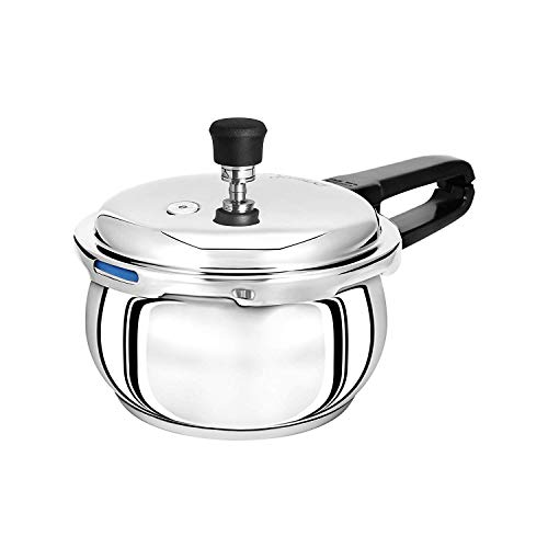 Pristine Tri Ply Induction Base Stainless Steel 2.5 L Handi Pressure Cooker with Tadka Pan 280ml (Silver)