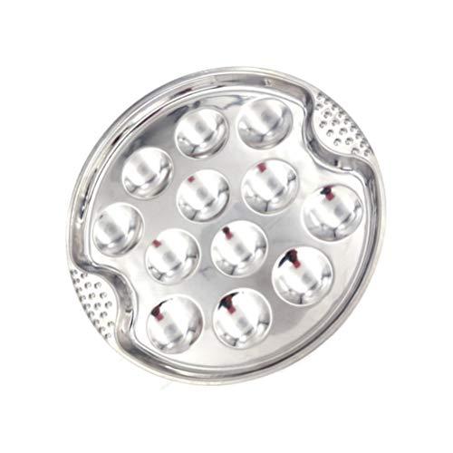 Cabilock Stainless Steel Escargot Dish 12 Compartment Holes for Snail Mushroom Escargot Home Kitchen Serving Utensil