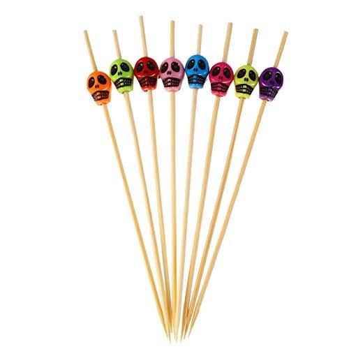 COKAMOZ Cóctel Selecciones Cráneo Decoración Dientes Cuidado Bambú Palillos De Dientes Para Bebidas Fruta 200pcs