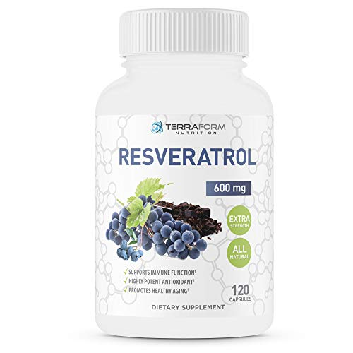 Terraform Nutrition Resveratrol – 1200mg Daily Extra Strength – Natural Antioxidant & Immune Health Support – 2 Month Supply