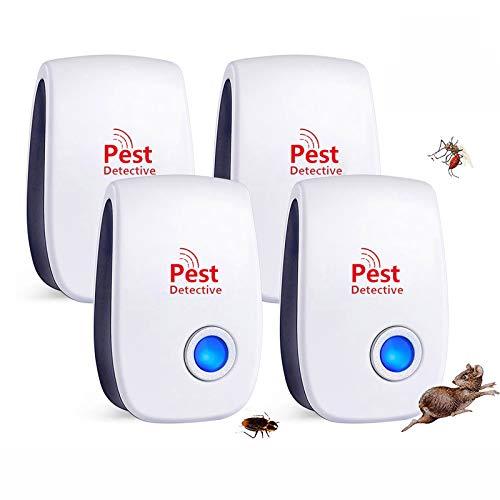 Répulsif Ultrason Anti Moustique,Nouveau 2021 Anti-Rongeurs Insectes,Répulsif à Ultrasons Répulsif,Électronique Anti Rats Souris Moustiques Coquerelle Mouches Cafards Fourmis Araignées(4 pack)