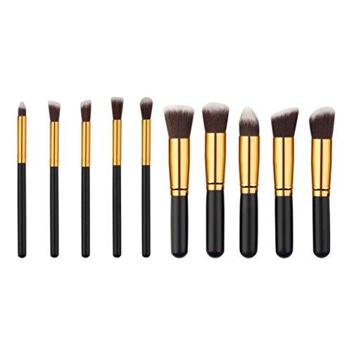 Fulltime® 10pcs / set pinceaux de maquillage cosmétiques Foundation Set Powder Eyeshadow (Noir)