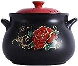 Pote de cazuela de cerámica antiadherente, Stockpo Cazuela de cerámica profunda con tapa, olla de arcilla olla saludable olla olla olla olla caliente olla lenta ( Color : Black , Size : 7.9Quart )
