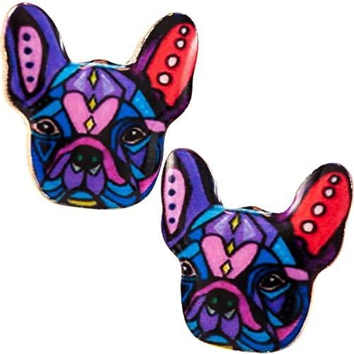 Soul Statement French Bulldog Earrings: Dog Stud Earrings for Women and Girls Colorful Enamel Print (Purple Pink)