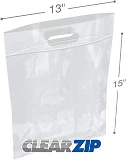 APQ Pack of 100 Die Cut Zip Lock Bags 13 x 15. Lock Top Handle Polyethylene Bags 13x15. FDA, USDA Approved, 3 Mil. Reclosable Storage Bags. 3 inch Lip. Zipper Locking Poly Plastic Bags for Goods.