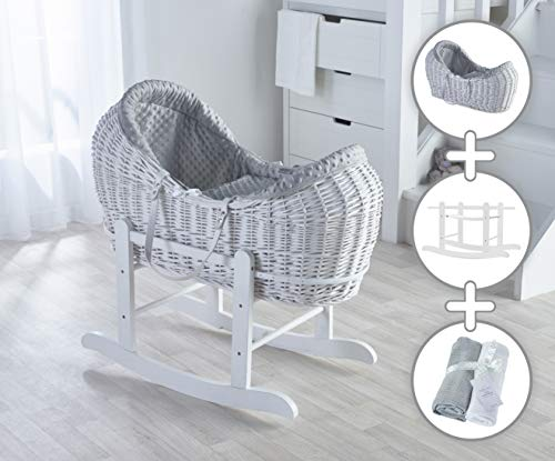 Grey Dimple White Wicker Noah Pod Moses Basket with Deluxe White Rocking Stand and Two Cellular Blankets Bundle