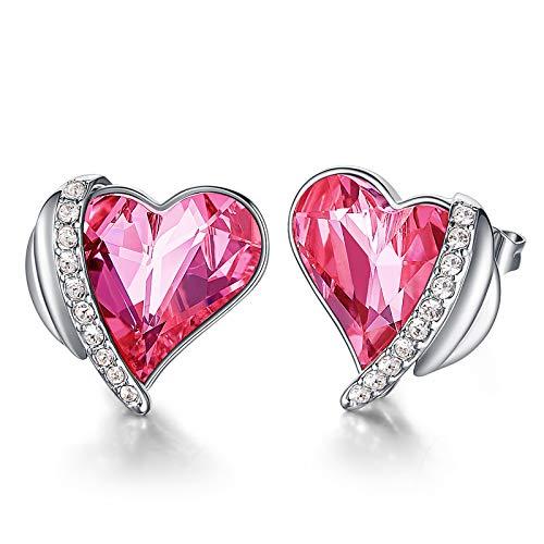 CDE Pendientes Mujer Chapados en Oro Rosa u Oro Blanco Aretes de Corazón de Amor de San Valentín joyería regalo para Mujer Madre Esposa (Oro blanco-rosado)