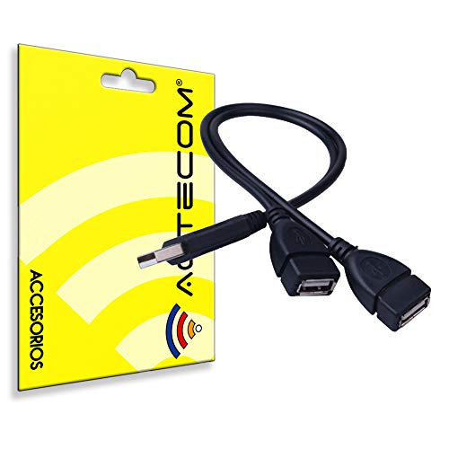actecom® Adaptador Cable HUB 2 Puertos USB 2.0 duplicador ladron Splitter Negro