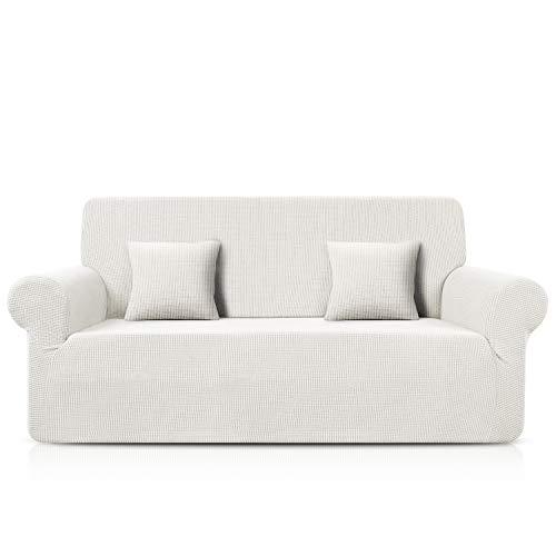 TAOCOCO Sofa Überwürfe Jacquard Sofabezug Elastische Stretch Spandex Couchbezug Sofahusse Sofa Abdeckung in Verschiedene Größe und Farbe (Weiß, 3-sitzer(180-230cm))