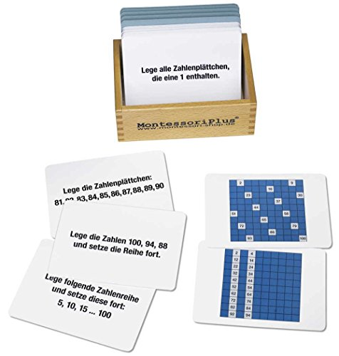 Arbeitskartei zum Hunderterbrett 100 Karten, Montessori Material mit Selbstkontrolle die Zahlen bis 100 erobern