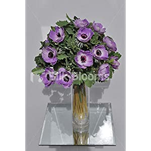 Silk Blooms Ltd Artificial Purple Anemone and Green Lambsear Floral Arrangement w/Clear Cylinder Vase