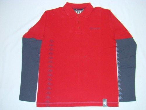 Kappa POLO da calamaro a maniche lunghe T-Shirt Rosso/Grigio