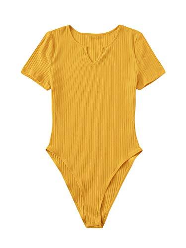 DIDK Damen Strick Body V-Ausschnitt Bodies Casaul Bodysuit Lässig Kurzarm Basic Bodys Top Shirts Senfgelb-1 L