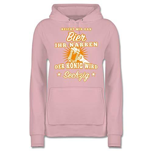 Shirtracer Geburtstag - Reicht Mir das Bier Ihr Narren 60 - L - Hellrosa JH001F - Damen Hoodie und Kapuzenpullover für Frauen