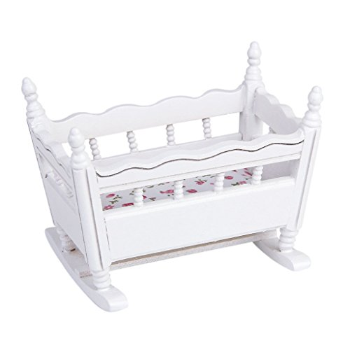 Hrsptudorc Cuna de la guarderiaen Miniatura de Madera Blanca de Jardin de Infancia para 1/12 Casa de munecas
