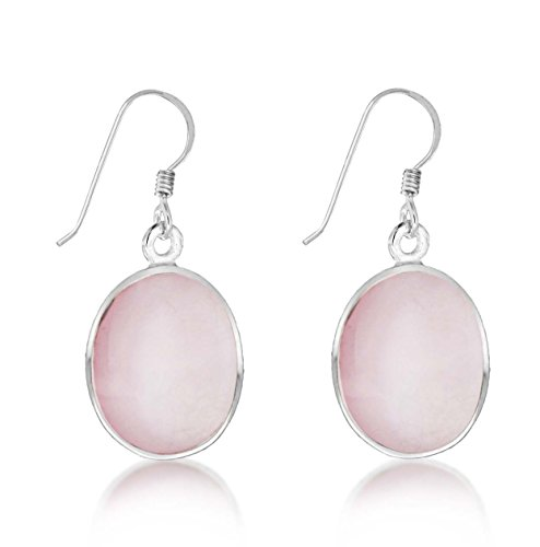 Tuscany Silver Women's Sterling Silver 11 x 14 mm Oval Pink Mother of Pearl Drop Earrings