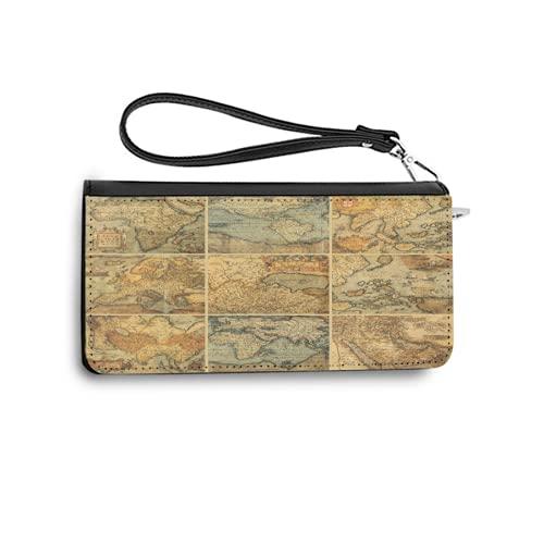 Carteras para Mujer,Collage con mapas Antiguos del Viejo Mundo,colección Antigua de civilización,Tarjetero de Piel auténtica con Capacidad de Bloqueo RFID,Monedero