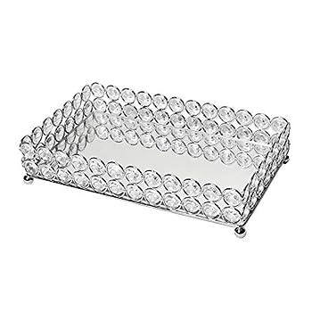 Elegant Designs HG1010-CHR Elipse Crystal Decorative Jewelry or Makeup Vanity Organizer Chrome Mirror Tray