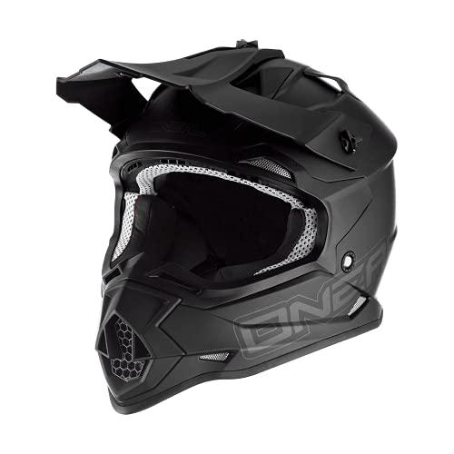 O'NEAL | Motocross-Helm | MX Enduro Motorrad | ABS-Schale, Sicherheitsnorm ECE 22.05, Lüftungsöffnungen für optimale Belüftung & Kühlung | 2SRS Helmet Flat | Erwachsene | Schwarz | Größe M